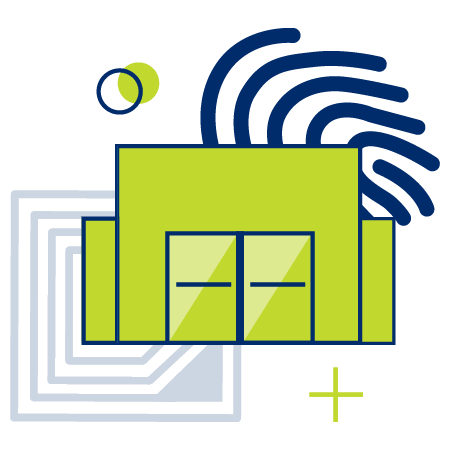 Building in front of an RFID tag and a fingerprint
